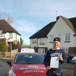 Joe - passsed with http://jimgermaneydrivingtuition.co.uk