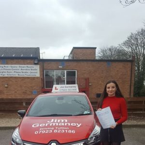 Lucy - passsed with http://jimgermaneydrivingtuition.co.uk