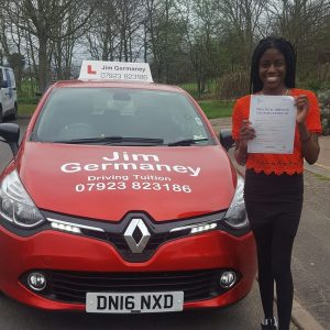 Teni - passsed with http://jimgermaneydrivingtuition.co.uk